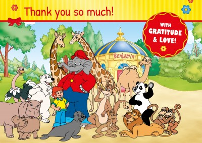 illustration Benjamin the elephant with friends outside