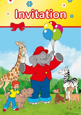 illustration Benjamin the elephant with friends outside with balloons