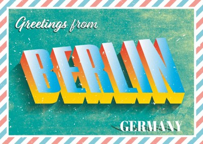 Retro postcard Berlin, Germany