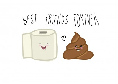 Card with toiletpaper and poop