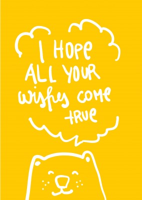 yellow card with bear and happy birhtday wishes