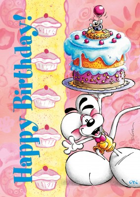 diddl mouse with cake postcard