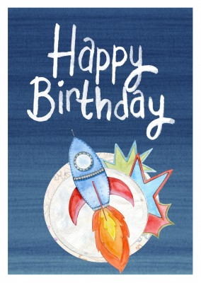 Illustration bunte Rakete Mond happy birthday