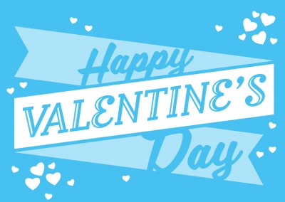blue retro postcard valentines day