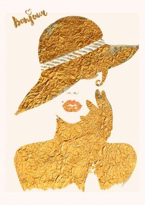 Kubistika female model with hat in gold