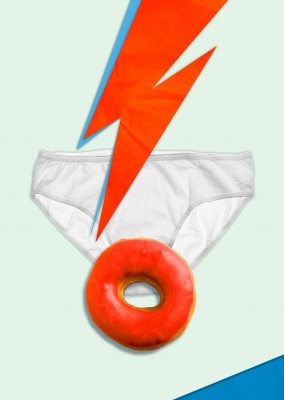 Kubistika red flash and red donut with white underwear