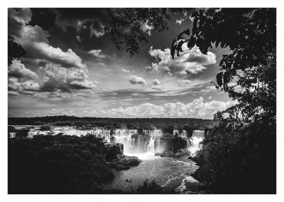 black n white photography of impressive waterfall
