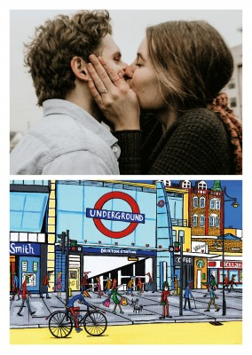 Illustration Södra London Konstnären Dan Brixton station