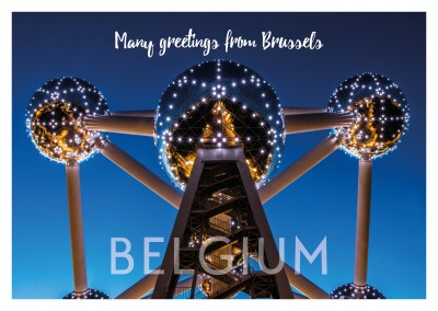 photo of Atomium in Brussels by night