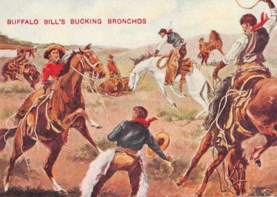 Buffalo Bill's Wild West Bucking Bronchos Antique Postcard