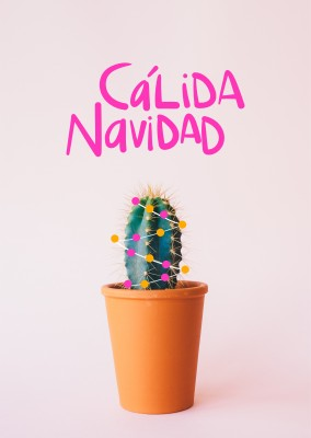 Cactus pequeño con luces de Navidad, cálida Navidad