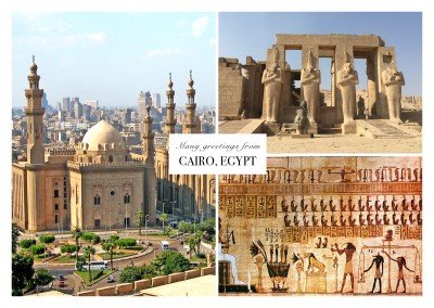 cairo photo collage postcard