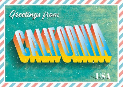 Retro Postkarte Californien, USA