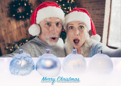 Christmas template with snow, Christmas baubles and lettering merry Christmas on top of a photo template