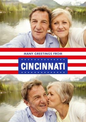 Cincinnati greetings in US Flag design
