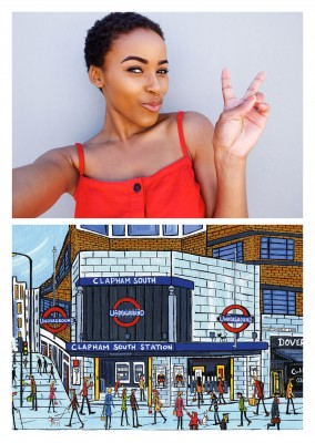Illustration Södra London Konstnären Dan Clapham Clapham South station