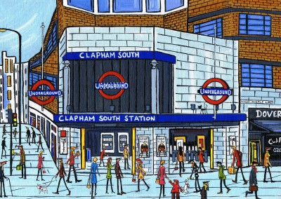 Illustration du Sud de Londres, l'Artiste Dan Clapham Clapham South station