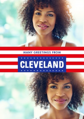 Cleveland  greetings in US Flag design