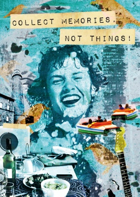 Collage mit Spruch Retro-Style–mypostcard