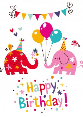 colorful elephant cartoon happy birthday