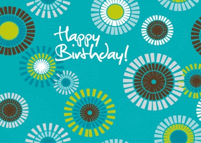 colorful happy birthday greeting card postcard
