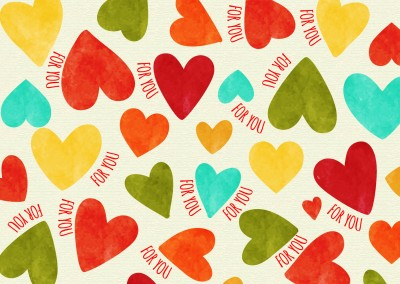 colorful heart postcard