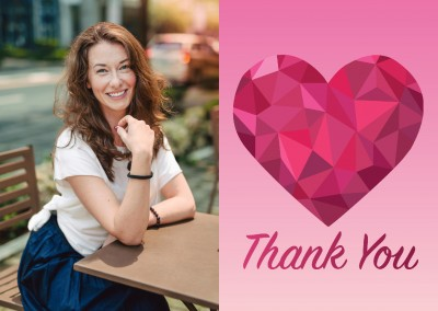 colorful illustration graphic thank you polygon heart red geometric triangles