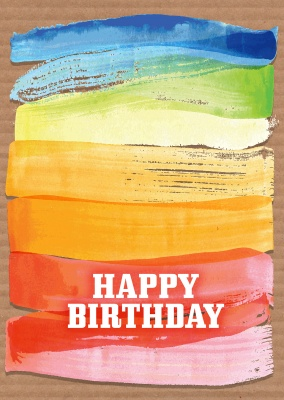 birthday wishes with colourful brush strokes in the background