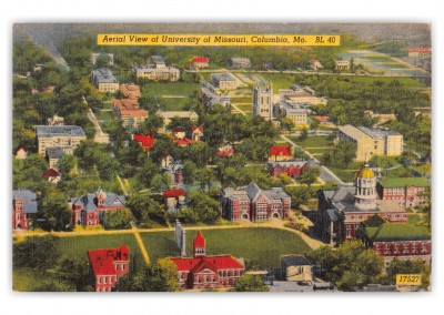 Columbia, Missouri, aerial view of University of Missouri