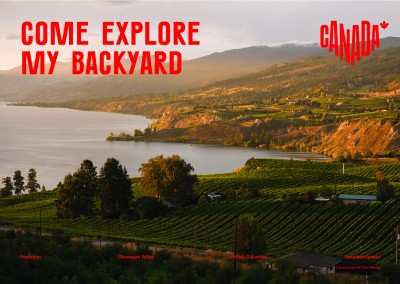 postcard saying Come explore my backyard, Okanagan Valley, British Columbia - Destination Canada