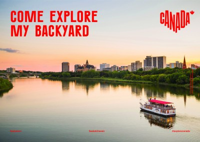 postcard saying Come explore my backyard, Saskatoon, Saskatchewan - Destination Canada
