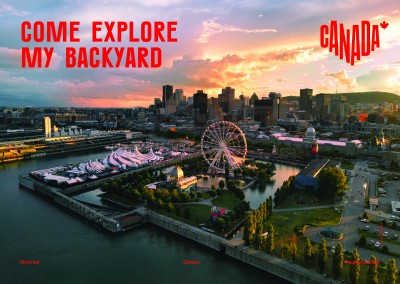 postcard saying Come explore my backyard, Montréal, Quebec - Destination Canada