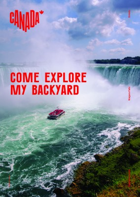 postcard saying Come explore my backyard, Niagara Falls, Ontario - Destination Canada