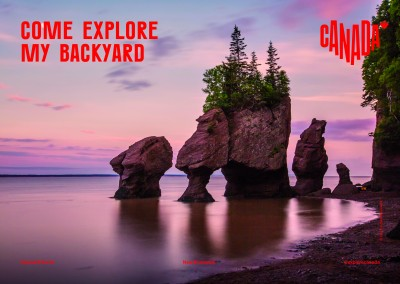 postcard saying Come explore my backyard, Hopewell Rocks, New Brunswick - Destination Canada