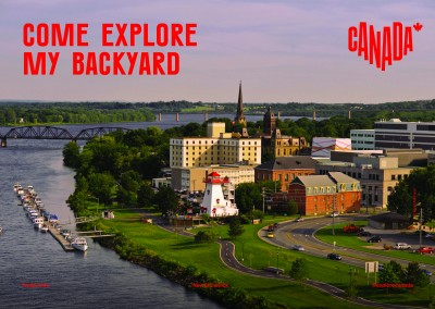 postcard saying Come explore my backyard, Fredericton, New Brunswick - Destination Canada