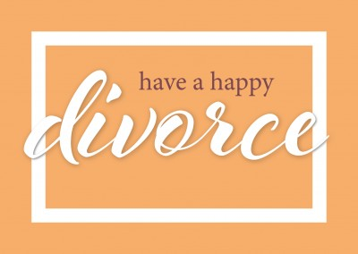 Congrats on divorce as lettering on orange colored ground