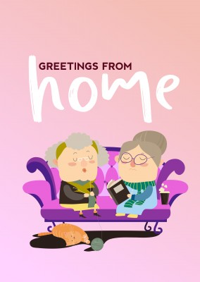 postcard saying Greetings from home