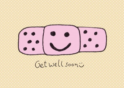 cute patch get well soon postcard motive