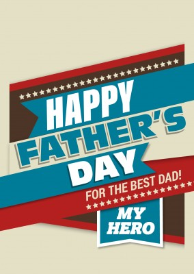 Happy Father's day my hero in rot blau und braun–mypostcard