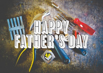 happy father'S day: fotot of white vintage desk with tools