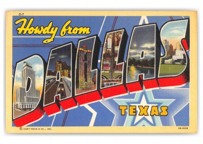 Dallas Texas Greetings Large Letter