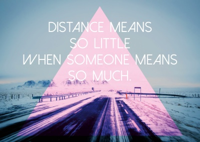 distance quote card with pink triangle on blue background