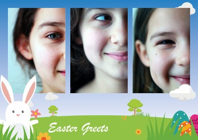 easter greets with bunny and landscape with blue background