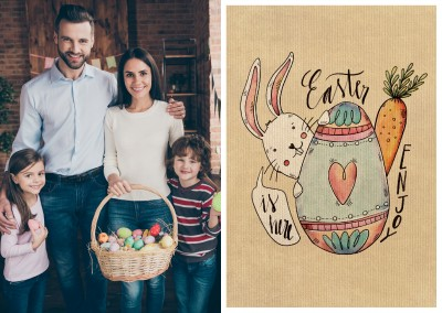 card with bunny and easter egg