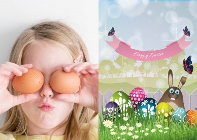 Easterbunny and Eastereggs with spring landscape background