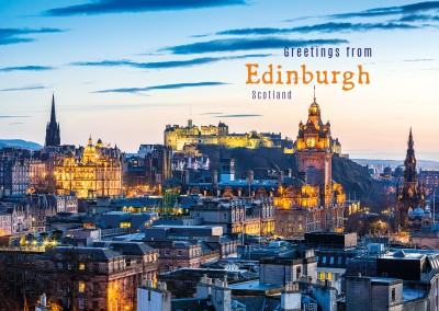 postcard with photo of edinburgh at night