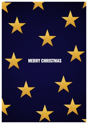 blue christmas card with golden stars