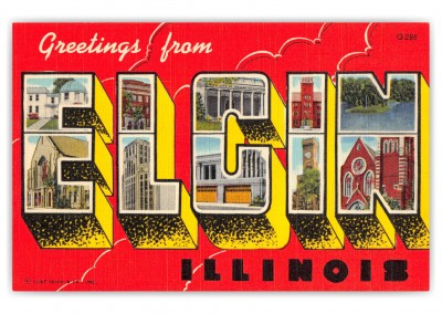 Elgin Illinois Large Letter Greetings