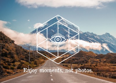 Postkarte Spruch Enjoy moments, not photos