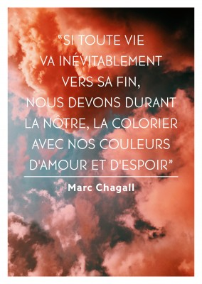 photo de ciel avec citation de Marc Chagall